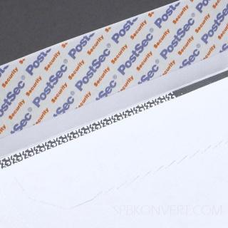 Белый офсет, 100 гр/м2, Прямой клапан, Лента, Повышенной плотности отрывная силиконовая лента PostSec, банковская внутренняя запечатка, защитные просечки