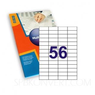 52,х 21,2 мм 56 наклеек на листе А4. В упаковке 100 листов формата А4. Multilabel (Испания)