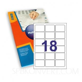 18 наклеек на листе А4. В упаковке 100 листов формата А4. Multilabel (Испания)