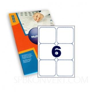 6 наклеек на листе А4. В упаковке 100 листов A4. Multilabel (Испания)
