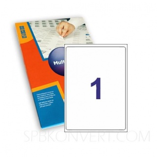 1 наклейка на листе А4. В упаковке 100 листов A4. Multilabel (Испания)