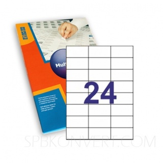 24 наклейки на листе А4. В упаковке 100 листов формата А4. Multilabel (Испания)
