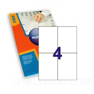 4 наклейки на листе А4. В упаковке 100 листов A4. Multilabel (Испания)
