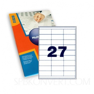 27 наклеек на листе А4. В упаковке 100 листов формата А4. Multilabel (Испания)