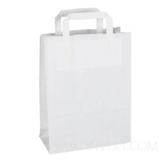 Бумажный белый пакет с плоскими ручками 43х32x17 см