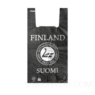 """Пакет ПНД с печатью """"Suomi Finland"""" черный. Плотность 13 мк. Мин.партия 1000 штук."""