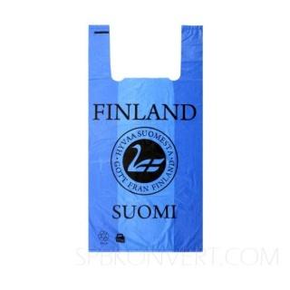 """Пакет ПНД с печатью """"Suomi Finland"""" синий. Плотность 13 мк. Мин.партия 1000 штук."""