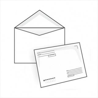 Белый офсет, 80 гр/м2, Треугольный клапан, Декстрин, С подсказом Кому-Куда