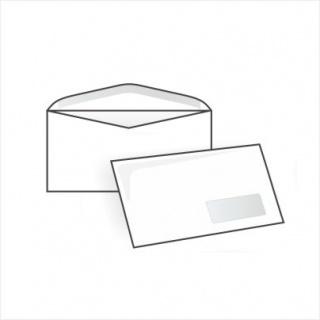 Белый офсет, 80 гр/м2, Автомат клапан, Декстрин, С окном 45х90 мм справа внизу, EcoPost (для автоматической упаковки)